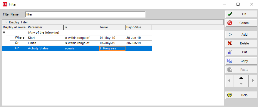 Using Or Conditions between Slicers to filter Primavera Schedule usingDAX